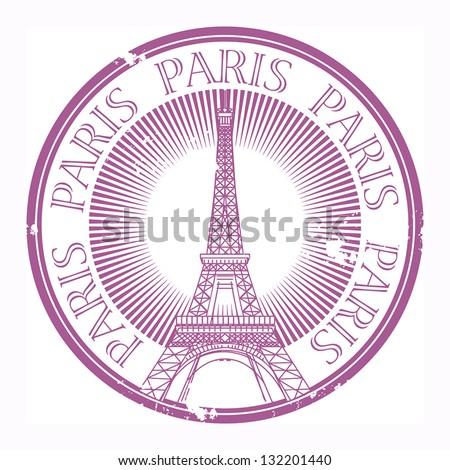Grunge rubber stamp Paris theme, vector illustration - stock vector