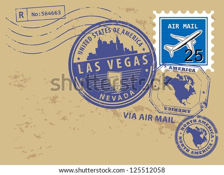 Grunge rubber stamp set with name of Nevada, Las Vegas, vector illustration - stock vector