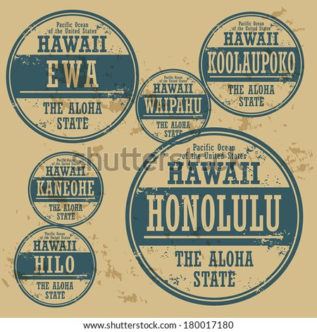 Grunge rubber stamp set with names of Hawaii cities, vector illustration - stock vector