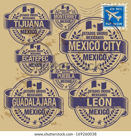Grunge rubber stamp set with names of Mexico cities, vector illustration - stock vector