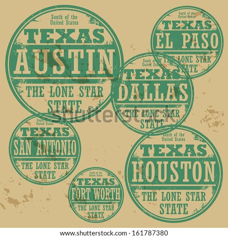 Grunge rubber stamp set with names of Texas cities, vector illustration - stock vector