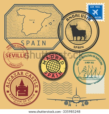 Grunge rubber stamp set with the name and map of Spain, vector illustration - stock vector
