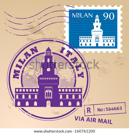 Grunge rubber stamp set with words Milan, Italy inside, vector illustration - stock vector