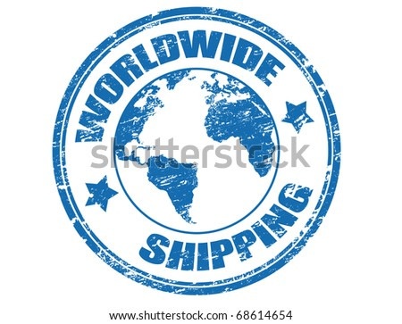 Grunge rubber stamp with a earth globe mape and the text worldwide shipping written inside the stamp, vector illustration - stock vector