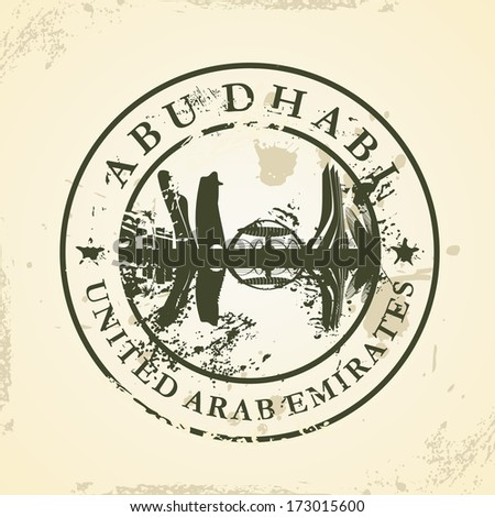 Grunge rubber stamp with Abu Dhabi, UAE - vector illustration - stock vector