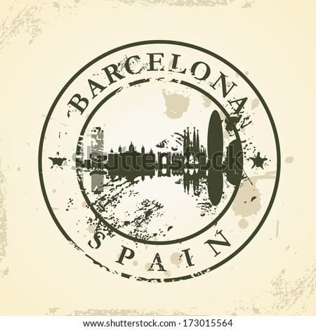 Grunge rubber stamp with Barcelona, Spain - vector illustration