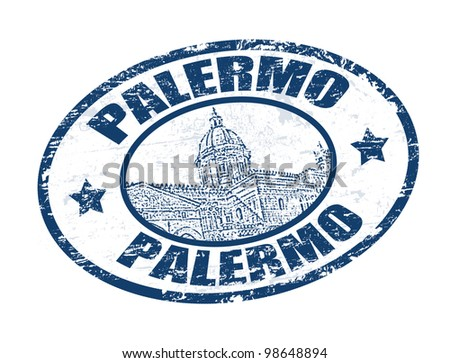 Grunge rubber stamp with Cathedral of Palermo shape and the word Palermo written inside