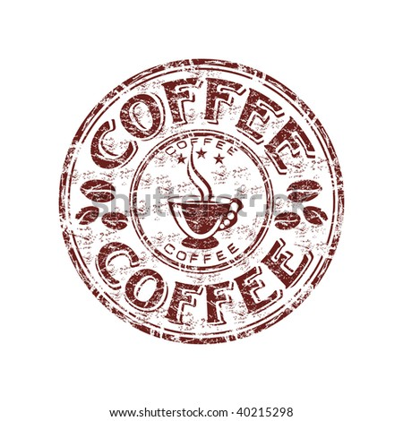 Grunge rubber stamp with coffee beans and coffee cup - stock vector