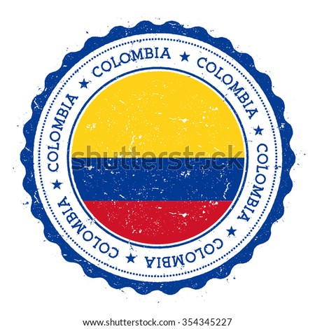 Grunge rubber stamp with Colombia flag. Vintage travel stamp with circular text, stars and country flag inside it, vector illustration