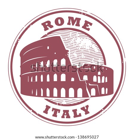 Grunge rubber stamp with Colosseum and the word Rome, Italy inside, vector illustration