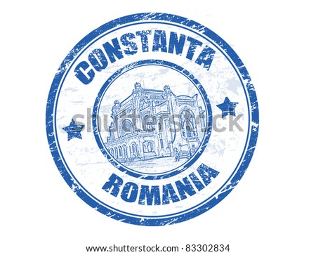 Grunge rubber stamp with Constanta casino and the word Constanta, Romania inside, vector illustration