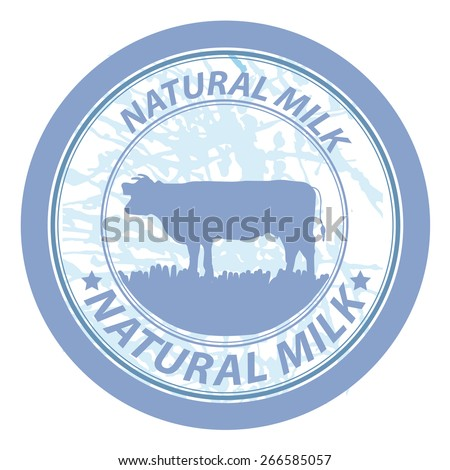 Grunge rubber stamp with cow shape and the text natural milk written inside, vector illustration