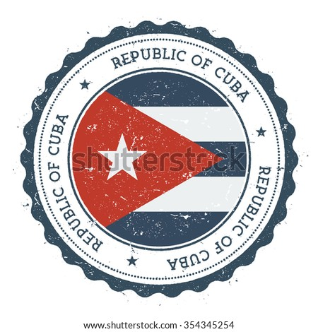 Grunge rubber stamp with Cuba flag. Vintage travel stamp with circular text, stars and country flag inside it, vector illustration - stock vector