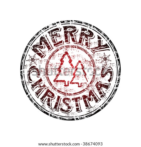 Grunge rubber stamp with fie tree shapes and the text Merry Christmas written inside the stamp - stock vector