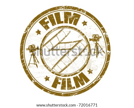 Grunge rubber stamp with film strip shape and the word film written inside the stamp - stock vector