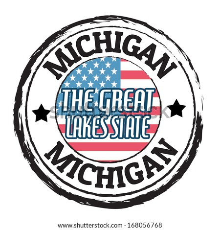 Grunge rubber stamp with flag and the text Michigan, The Great Lakes State, vector illustration - stock vector