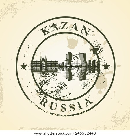 Grunge rubber stamp with Kazan, Russia - vector illustration