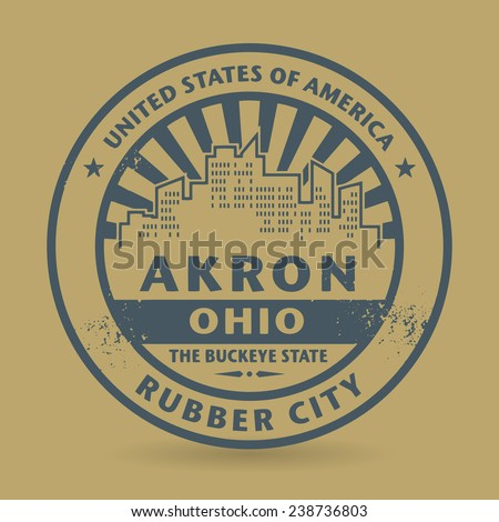 Grunge rubber stamp with name of Akron, Ohio, vector illustration