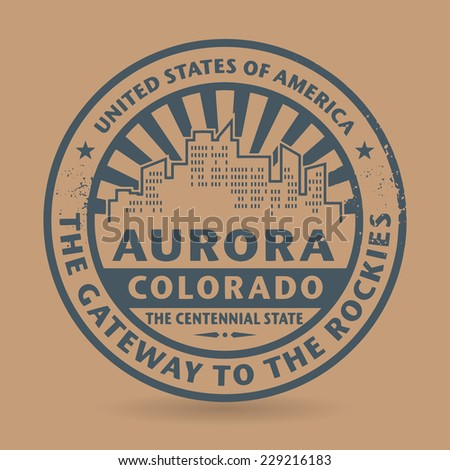 Grunge rubber stamp with name of Aurora, Colorado, vector illustration