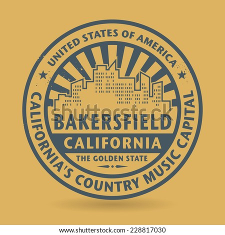 Grunge rubber stamp with name of Bakersfield, California, vector illustration - stock vector