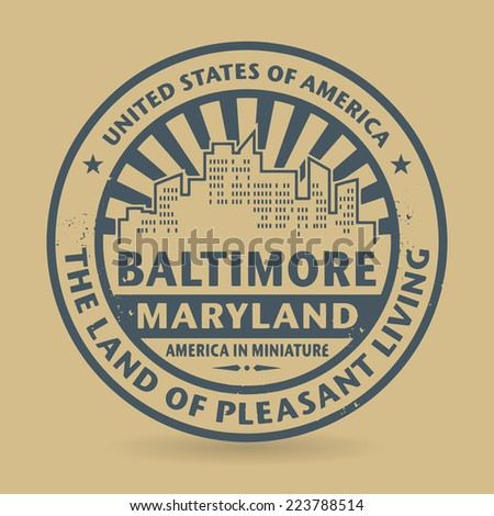 Grunge rubber stamp with name of Baltimore, Maryland, vector illustration - stock vector