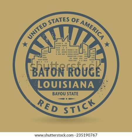 Grunge rubber stamp with name of Baton Rouge, Louisiana, vector illustration