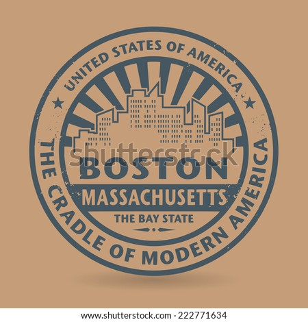 Grunge rubber stamp with name of Boston, Massachusetts, vector illustration - stock vector