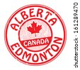 Grunge rubber stamp with name of Canada, Alberta and Edmonton written inside the stamp, vector illustration - stock vector