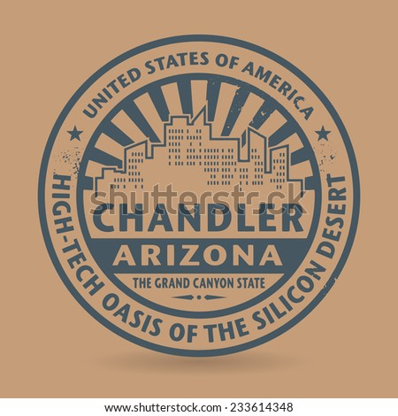 Grunge rubber stamp with name of Chandler, Arizona, vector illustration