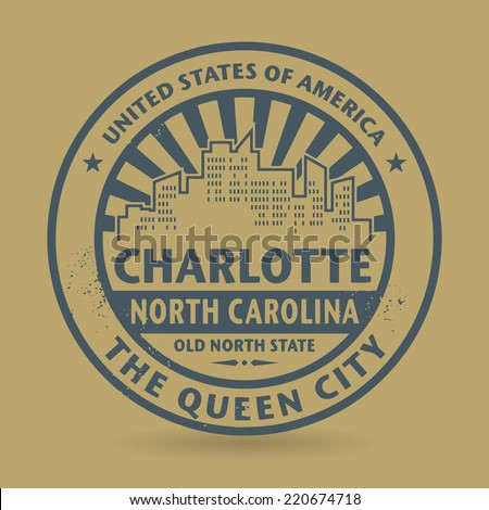 Grunge rubber stamp with name of Charlotte, North Carolina, vector illustration