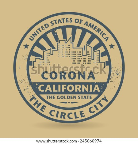 Grunge rubber stamp with name of Corona, California, vector illustration - stock vector