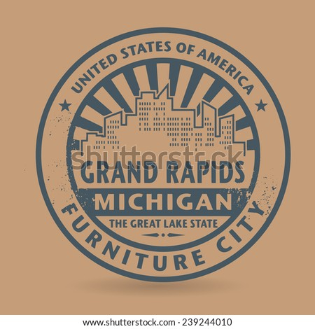 Grunge rubber stamp with name of Grand Rapids, Michigan, vector illustration - stock vector