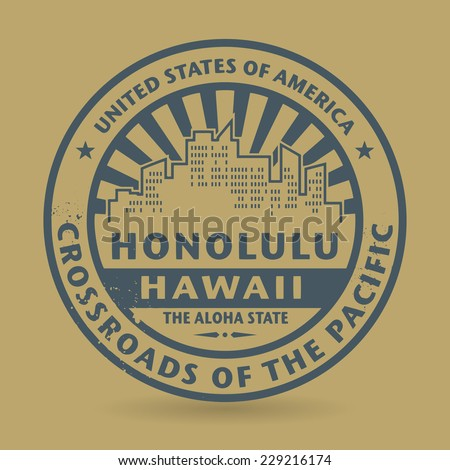 Grunge rubber stamp with name of Honolulu, Hawaii, vector illustration