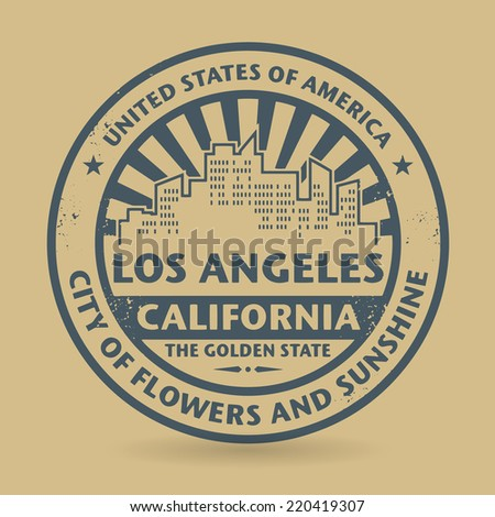 Grunge rubber stamp with name of Los Angeles, California, vector illustration