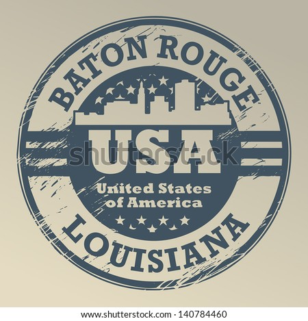 Grunge rubber stamp with name of Louisiana, Baton Rouge, vector illustration
