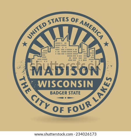 Grunge rubber stamp with name of Madison, Wisconsin, vector illustration