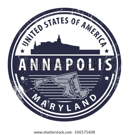 Grunge rubber stamp with name of Maryland, Annapolis, vector illustration