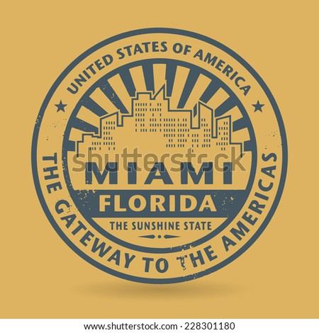 Grunge rubber stamp with name of Miami, Florida, vector illustration