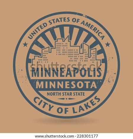 Grunge rubber stamp with name of Minneapolis, Minnesota, vector illustration