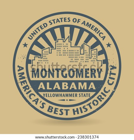 Grunge rubber stamp with name of Montgomery, Alabama, vector illustration