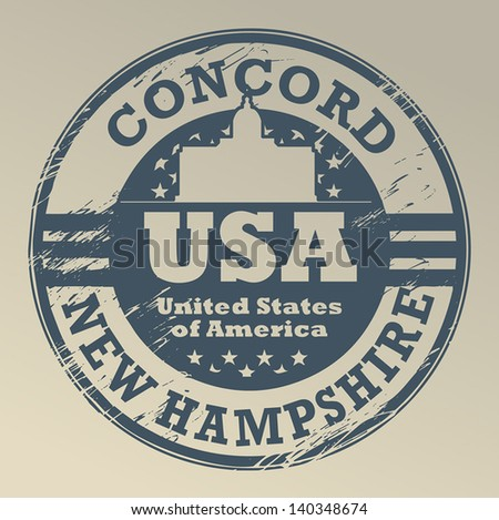 Grunge rubber stamp with name of New Hampshire, Concord, vector illustration