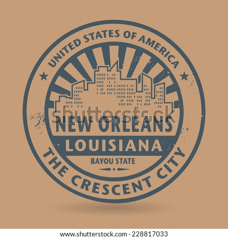 Grunge rubber stamp with name of New Orleans, Louisiana, vector illustration