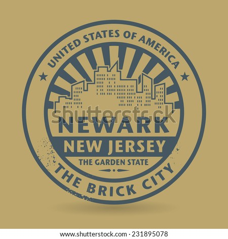 Grunge rubber stamp with name of Newark, New Jersey, vector illustration