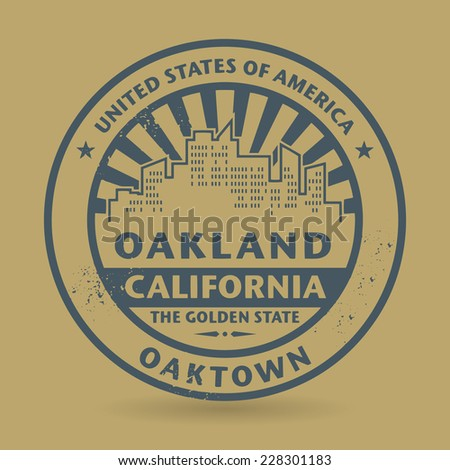 Grunge rubber stamp with name of Oakland, California, vector illustration