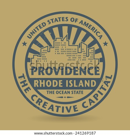 Grunge rubber stamp with name of Providence, Rhode Island, vector illustration