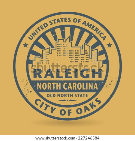 Grunge rubber stamp with name of Raleigh, North Carolina, vector illustration - stock vector