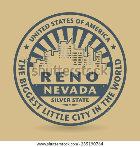Grunge rubber stamp with name of Reno, Nevada, vector illustration - stock vector
