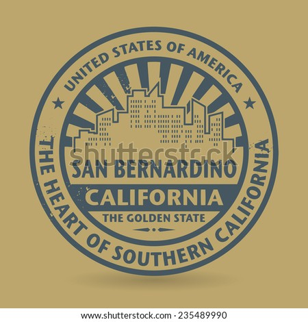 Grunge rubber stamp with name of San Bernardino, California, vector illustration