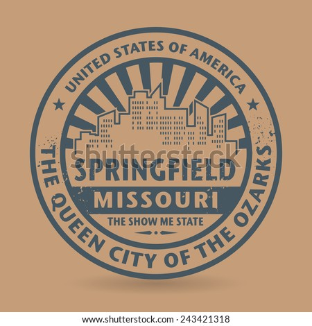 Grunge rubber stamp with name of Springfield, Missouri, vector illustration