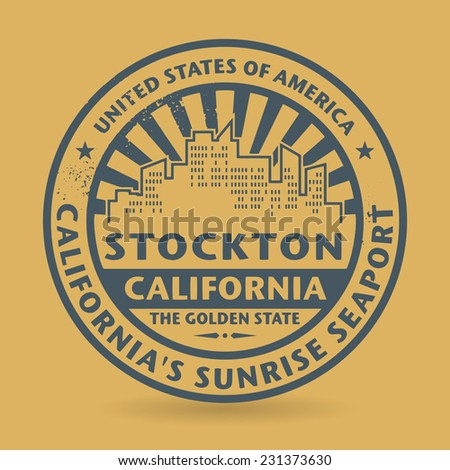 Grunge rubber stamp with name of Stockton, California, vector illustration - stock vector